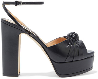 Sergio Rossi Kaia Knotted Leather Platform Sandals