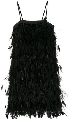 Prada Feather-Embellished Slip Dress