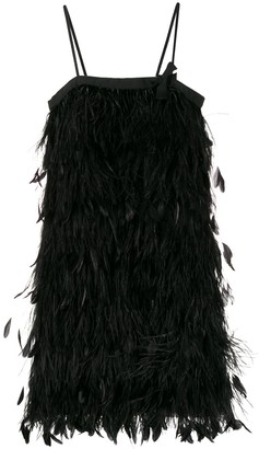 Prada feather-embellished slip dress