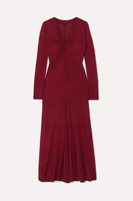 Joseph Marlene Gathered Crepe De Chine Midi Dress - Burgundy