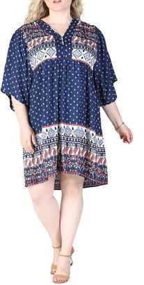 Angie V-Neck Printed Short Sleeve Dress (Plus Size)