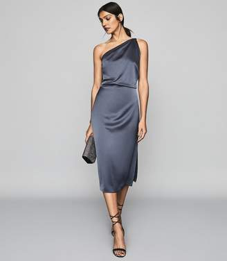 Reiss EDEN One Shoulder Satin Dress Smoke Blue
