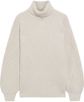 Iris & Ink Briggitte Ribbed Merino Wool-blend Turtleneck Sweater