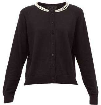 Simone Rocha Pearl And Crystal Embellished Wool Blend Cardigan - Womens - Black Multi