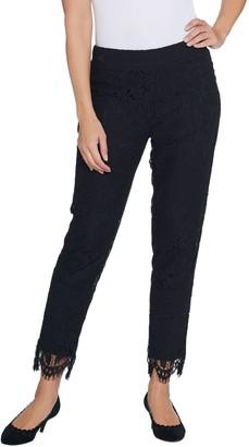 Isaac Mizrahi Live! Petite Knit Lace Pull-On Slim Leg Pants