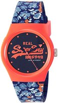 Superdry Women's 'Urban Floral' Quartz Plastic and Silicone Dress Watch, Color:Blue (Model: SYL169UCO)