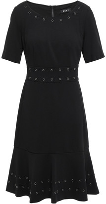 DKNY City Lights Eyelet-embellished Stretch-crepe Dress