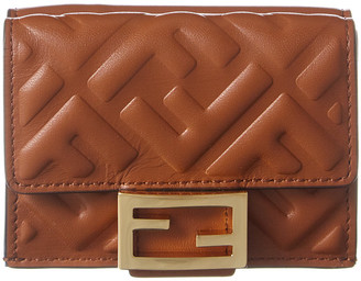 Fendi Micro Trifold Leather Wallet
