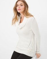 White House Black Market Fringe-Trim Cozy Sweater