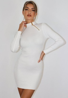 Missguided White Zip High Neck Dress