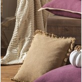 Andrade Burlap Natural Fringed Cotton Throw Pillow The Twillery Co.