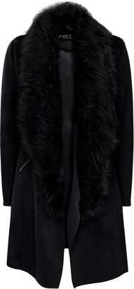 Wallis Black Faux Suede Fur Collar Waterfall Jacket