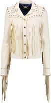 Just Cavalli Studded fringed leather jacket