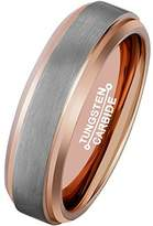MNH Gold Rings for Men Plated Tungsten Carbide Matte Finish 6mm Wedding Band Comfort Fit