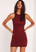 Missguided Racer Back Ribbed Mini Dress Burgundy