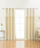 Best Home Fashion Beige Blackout Curtain Panel & Lace Valance Set