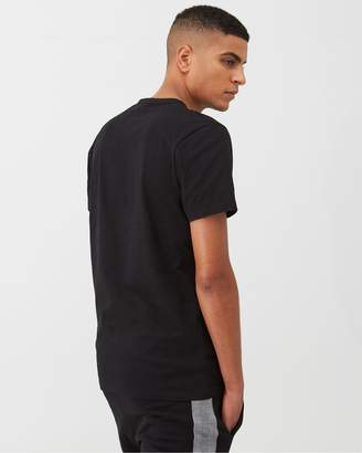 Very Check Panel Crew Neck T-Shirt - Black