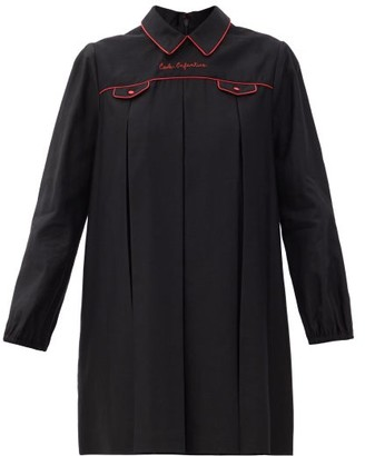 Gucci Ecole Enfantine-embroidered Linen-blend Mini Dress - Black