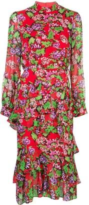 Saloni Ruffled Floral Midi Dress