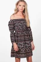 boohoo Lucie Sheered Top Paisley Print Shift Dress