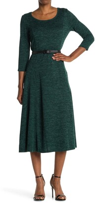 Nina Leonard Heathered Belted Midi Dress