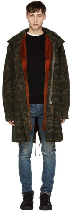 Yves Salomon Green Camo Fur-Lined Mid-Length Parka