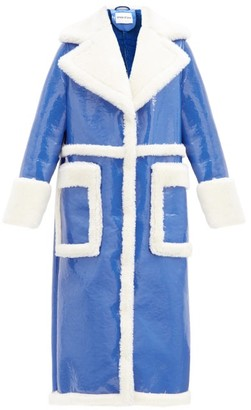 Stand Studio Aubrey Faux-shearling And Patent-leather Coat - Blue White