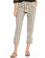 Jolt Striped Rolled Cuff Linen-Blend Pants