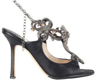 Jimmy Choo Black Leather Metal Slingback Sandals Size 36
