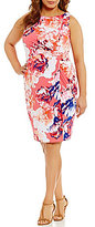 Calvin Klein Plus Floral Matte Jersey Sheath Dress