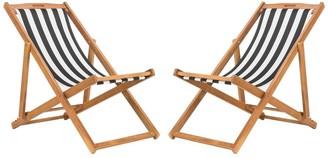 Safavieh Outdoor Living Loren Foldable Sling Chair - Black / White