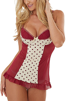 Ivory & Red Polka Dot Underwire Babydoll & Thong - Plus Too