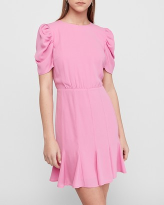 Express Puff Sleeve Fit & Flare Dress