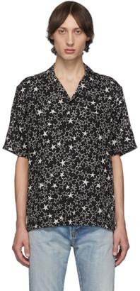 Saint Laurent Black Graffiti Stars Shark Collar Short Sleeve Shirt
