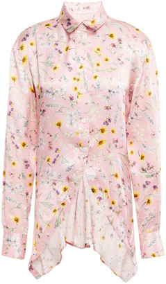Y/Project Asymmetric Pleated Floral-print Silk-satin Shirt