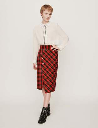 Maje Asymmetrical plaid skirt