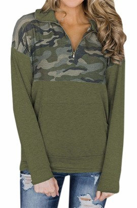 Smile Fish Womens Casual Long Sleeve 1/4 Zipper Sweatshirts Camouflage Pullover with Pockets Print Patchwork(Army Green M)