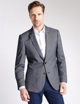 Marks and Spencer Blue Textured Tailored Fit Jacket