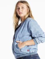 Lucky Brand Plus Size Denim Bomber Jacket