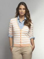 New York & Co. Striped V-Neck Cardigan with Roll-Tab Sleeves