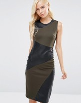 Forever Unique Maeve Leather Look Insert Midi Dress