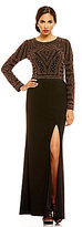 Xscape Evenings Caviar Beaded Top Jersey Bottom Two-Piece Gown