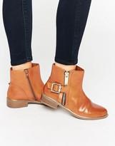 Aldo Buckle And Zip Detail Flat Boots