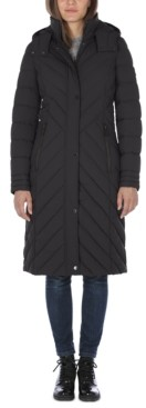 Nautica Hooded Stretch Maxi Puffer Coat