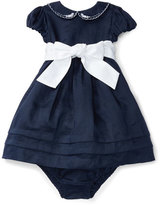 Ralph Lauren Cap-Sleeve Fit-and-Flare Ramie Dress w/ Bloomers, Blue, Size 9-24 Months