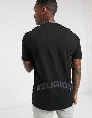 Religion iridescent back text t-shirt in black