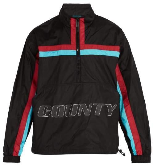 Marcelo Burlon County of Milan Striped Technical Jacket - Mens - Black