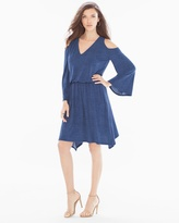 Soma Intimates Blouson Knit Short Dress Denim Blue