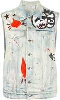 Faith Connexion hand-painted effect denim gilet