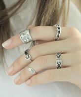 Nautilus Black & Silvertone Moon & Feather Ring Set